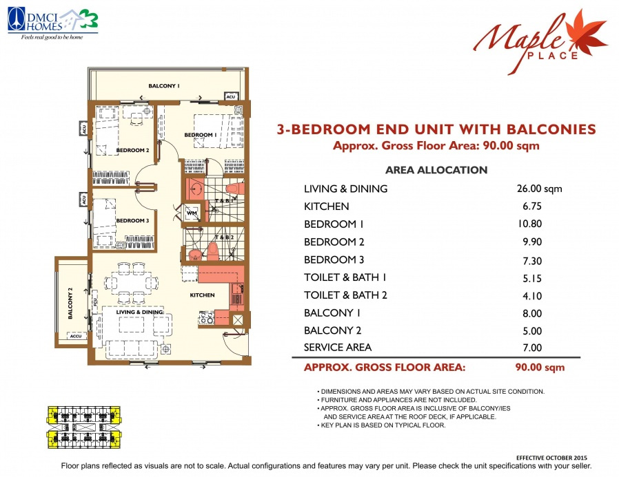3-Bedroom End Unit With Balconies